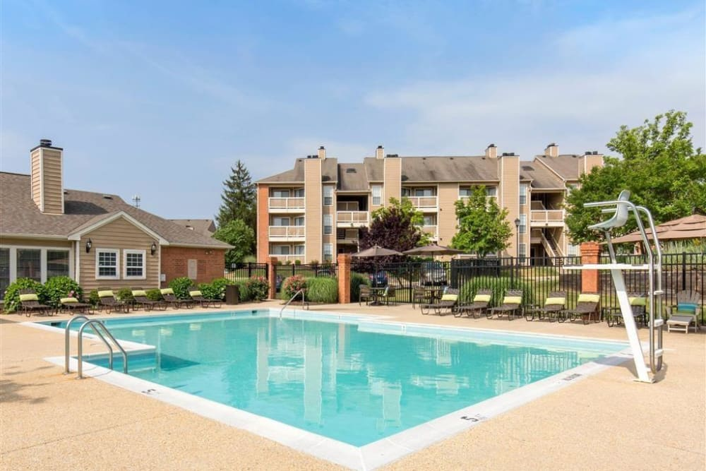 Sparkling swimming pool at Hampton Point Apartment Homes in Silver Spring, Maryland