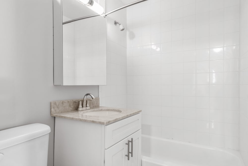 Updated finishes in bathrooms at Mid Island Apartments in Bay Shore, New York