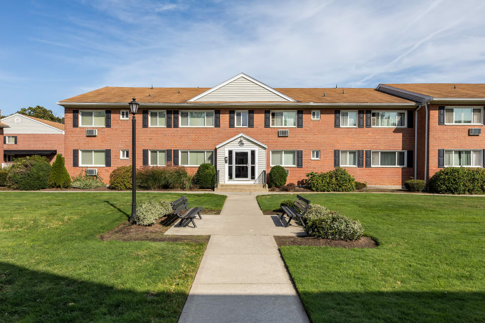 Main entrance and courtyard at Mid Island Apartments in Bay Shore, New York