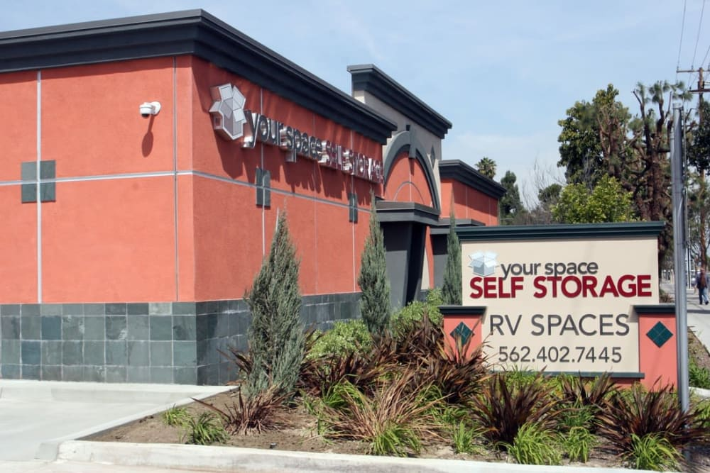 Entrance at Your Space Self Storage in Norwalk.