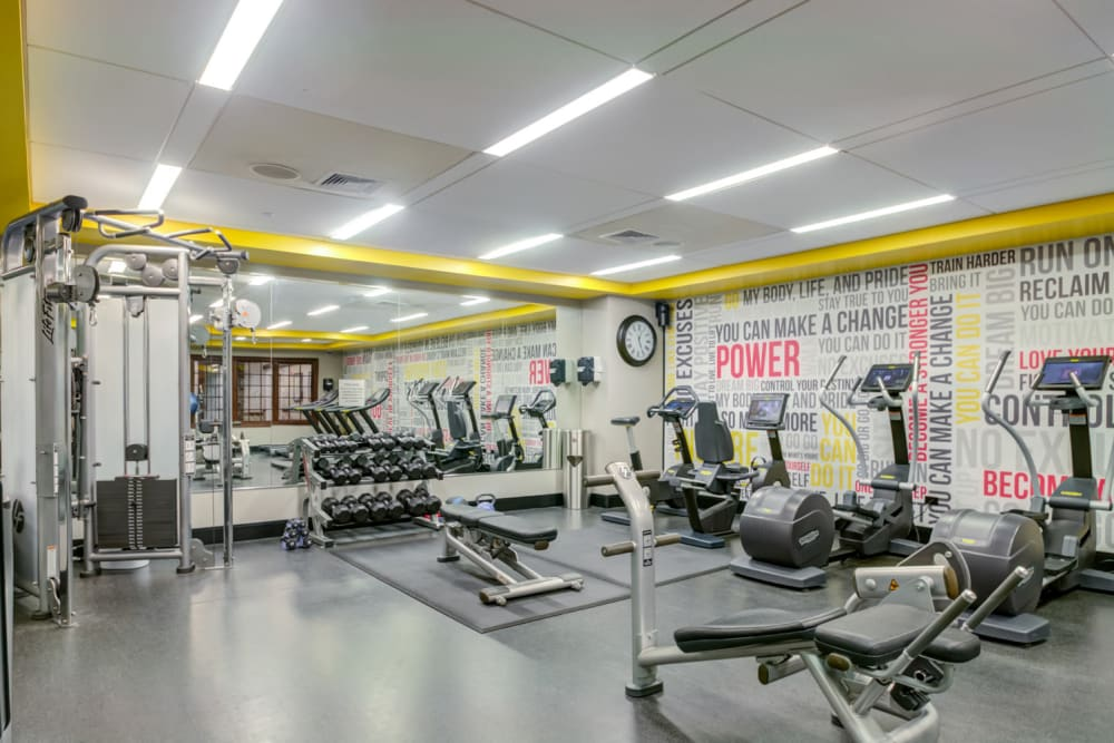 Fitness center with modern equipment at Sofi at Morristown Station in Morristown, New Jersey