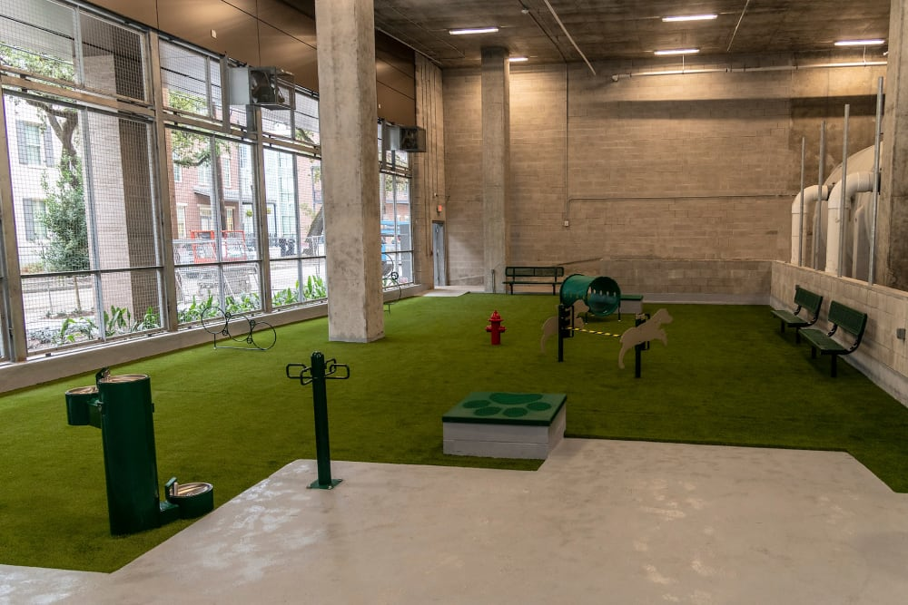 Indoor golf facility at Canal1535 in New Orleans, Louisiana.