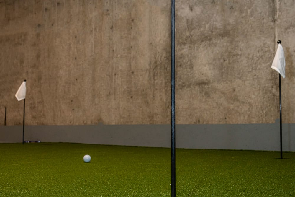 Indoor putting greens at Canal1535 in New Orleans, Louisiana.