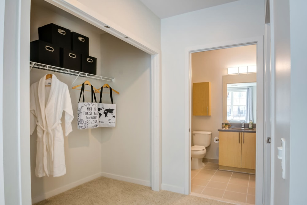 Spacious closet and bathroom at Sofi at Morristown Station in Morristown, New Jersey