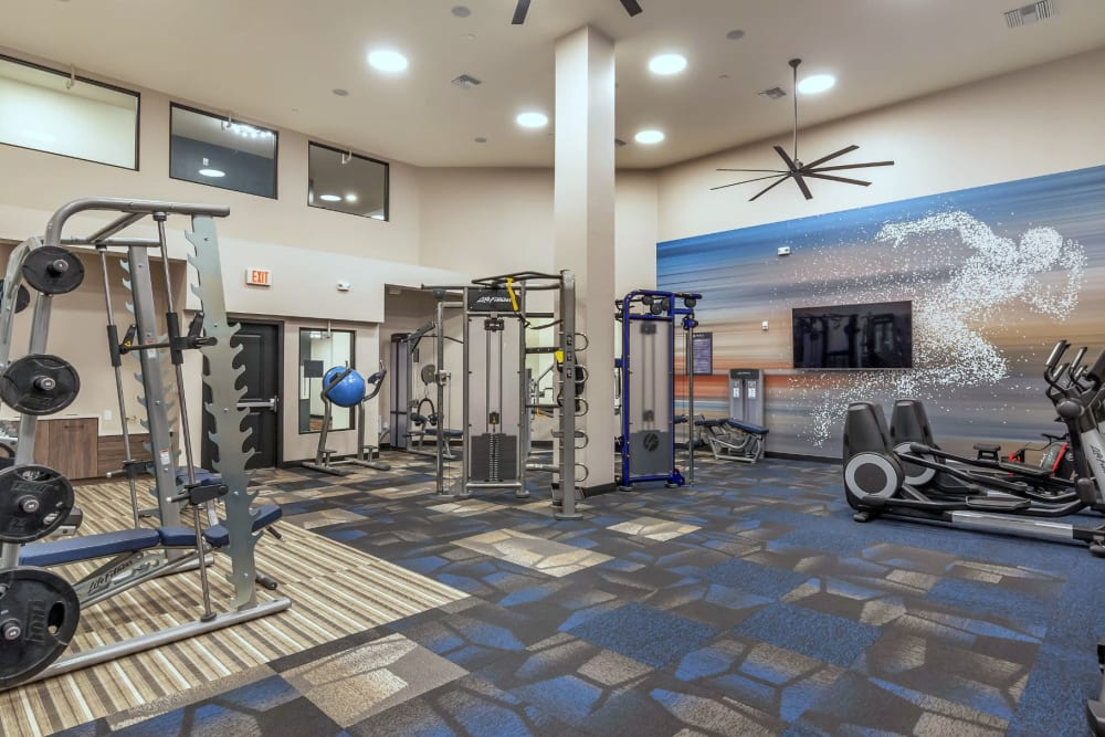 Onsite fitness center at Arista at Ocotillo in Chandler, Arizona