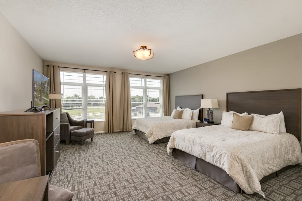 A guest room at Applewood Pointe of Champlin at Mississippi Crossings in Champlin, Minnesota.