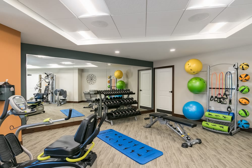 Fitness center with weights and exercise balls at Applewood Pointe of Champlin at Mississippi Crossings in Champlin, Minnesota.