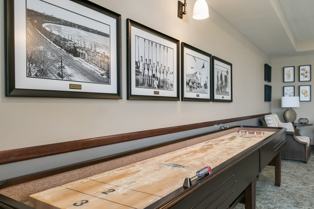 Shuffleboard at Applewood Pointe of Champlin at Mississippi Crossings in Champlin, Minnesota.