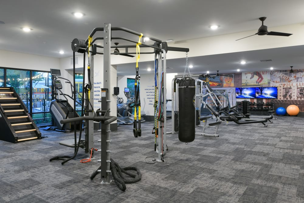 Fully equipped fitness center at Bluebird Row in Chattanooga, Tennessee