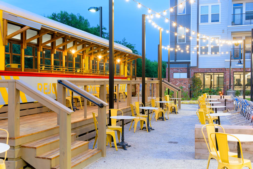 Outdoor lounge area at Bluebird Row in Chattanooga, Tennessee