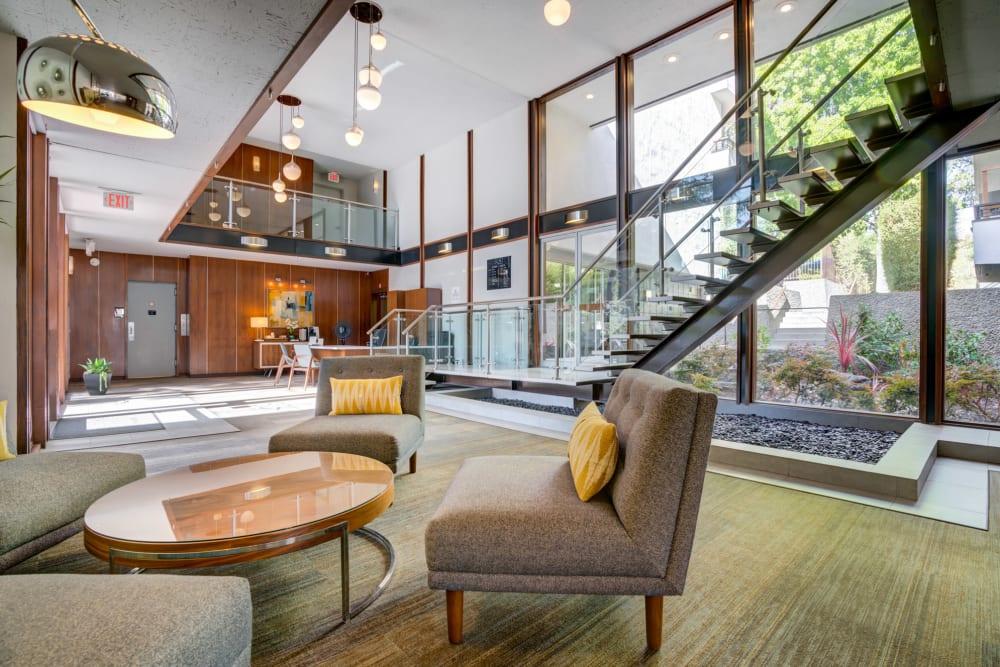 Retro-modern architecture in the welcome center at Sofi Belmont Glen in Belmont, California