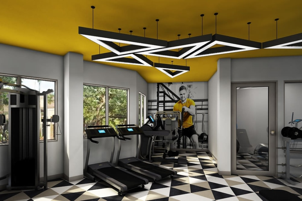 Fully equipped fitness center at Steelyard in St. Louis, Missouri