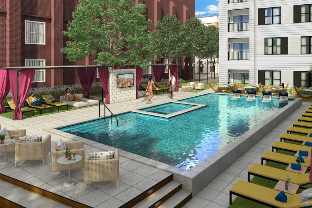 Sparkling resort style swimming pool at Steelyard in St. Louis, Missouri
