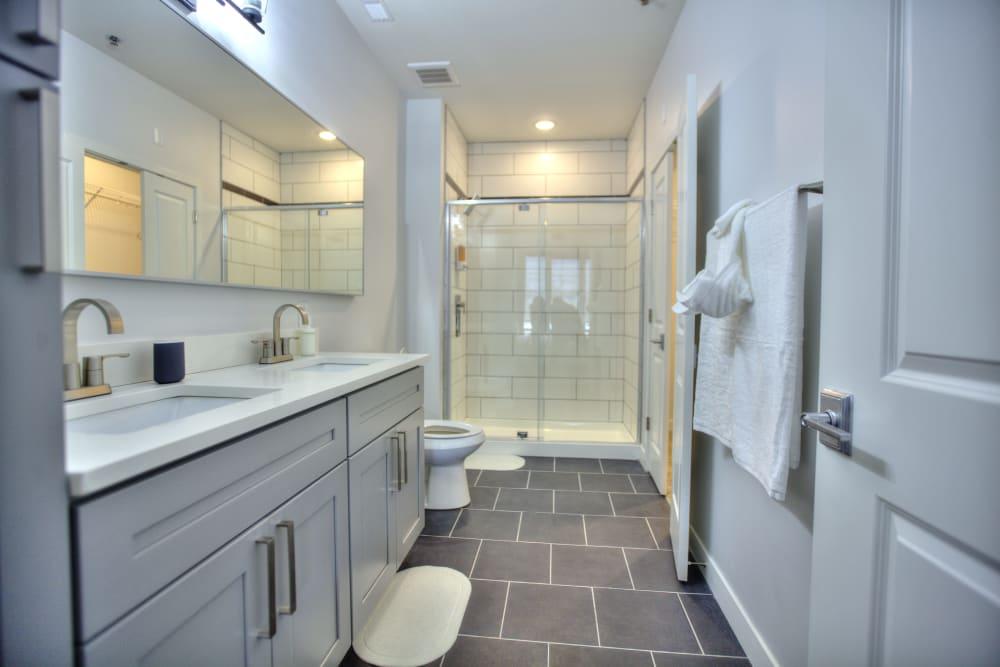 Spacious master bathroom at Steelyard in St. Louis, Missouri
