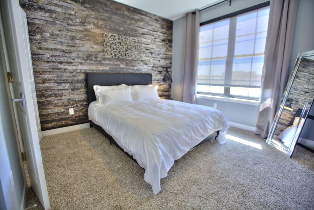 Modern, bright bedroom at Steelyard in St. Louis, Missouri