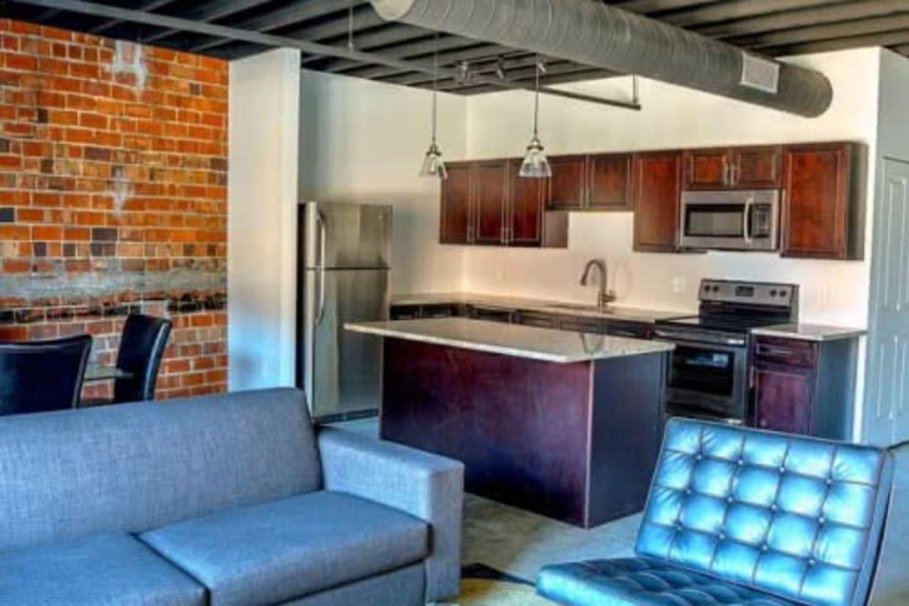 Community kitchen area at Steelyard in St. Louis, Missouri
