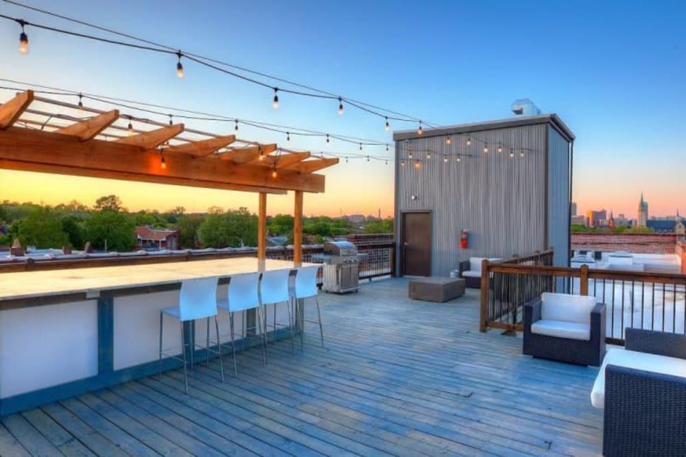 Outdoor lounge area at Steelyard in St. Louis, Missouri