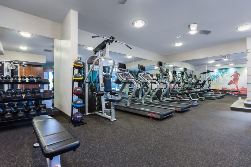 Well-equipped onsite fitness center at Sofi Belmont Glen in Belmont, California