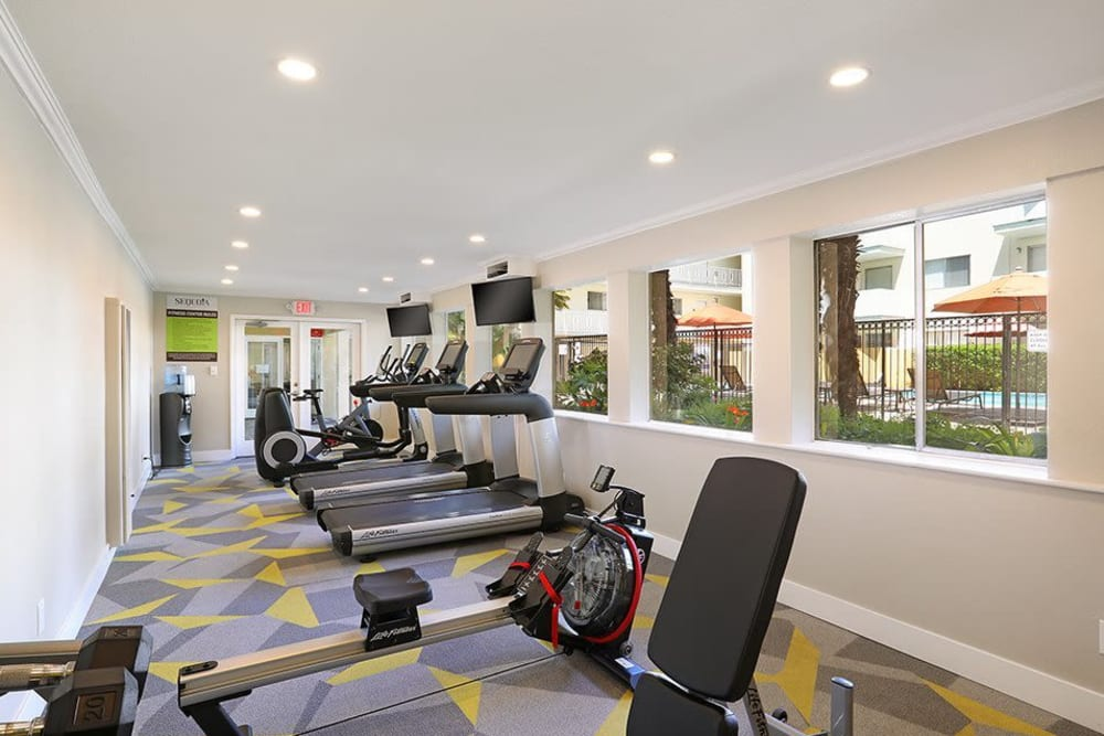 Fitness center with state of the art equipment at Sofi Redwood Park in Redwood City, California