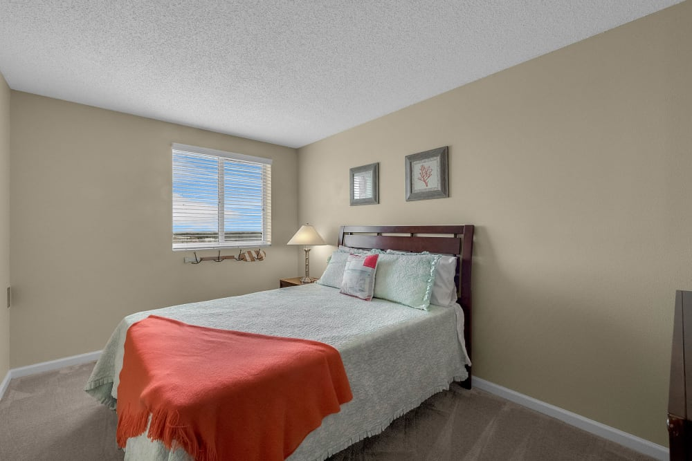 Model bedroom at Lake Morton Plaza in Lakeland, Florida