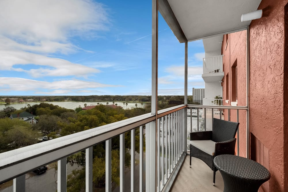 Balcony with beautiful views at Lake Morton Plaza in Lakeland, Florida
