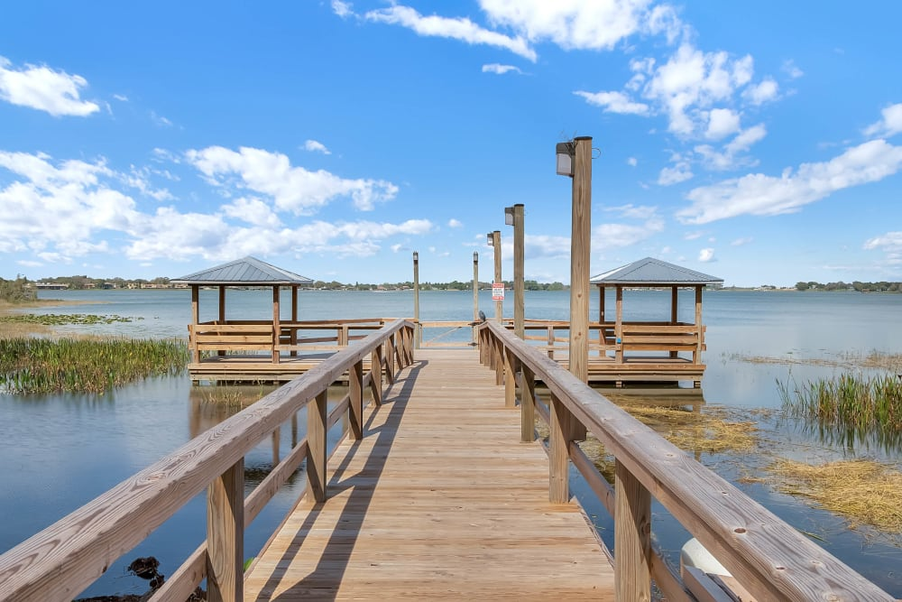 Dock leading out to the lake at Spring Haven in Winter Haven, Florida