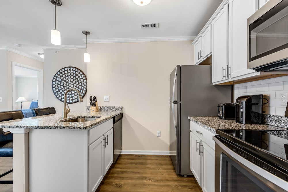 An apartment kitchen at Singh Apartments in Michigan