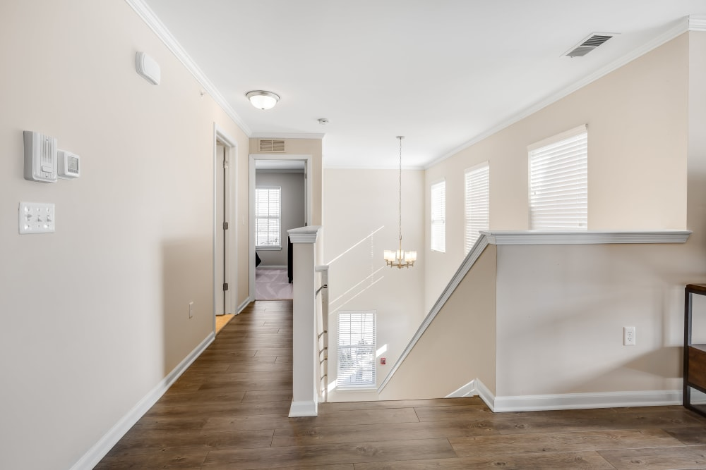 An apartment hallway to bedrooms at Singh Apartments in Michigan