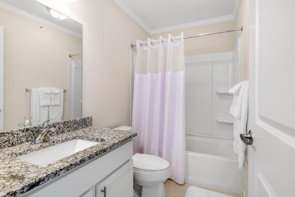 An apartment bathroom at Singh Apartments in Michigan