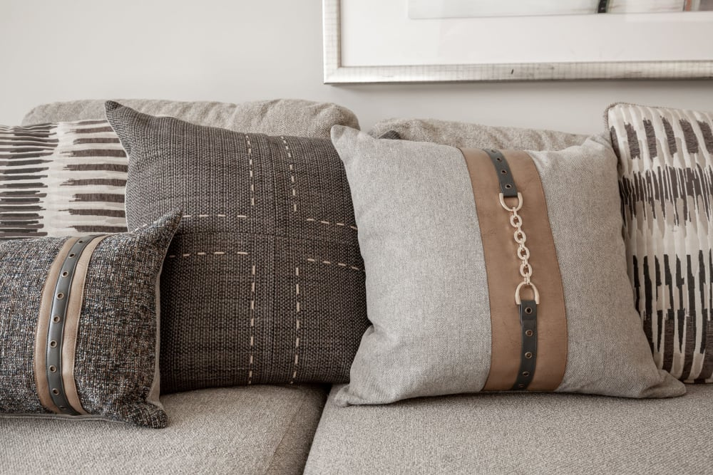 Decorative pillows in an apartment at Singh Apartments in Michigan