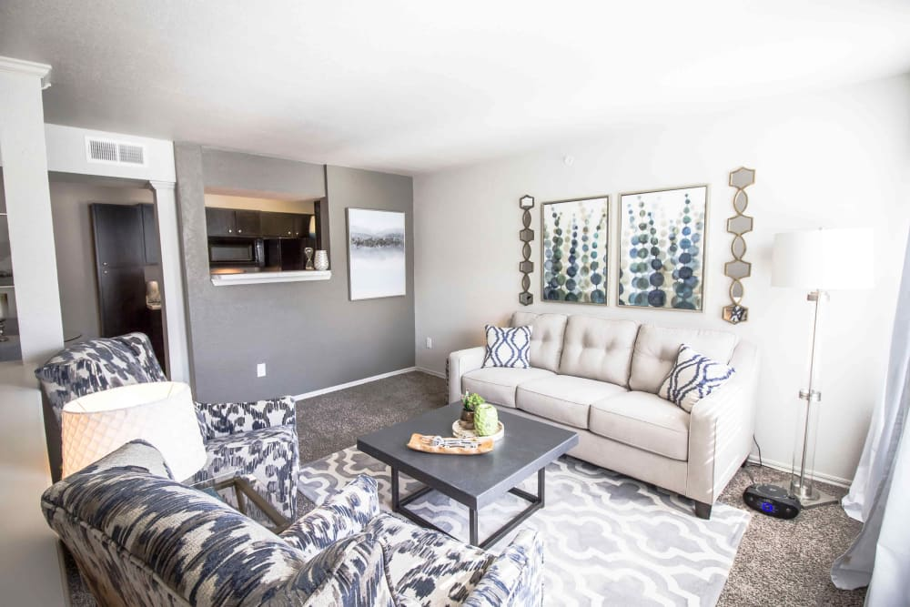 A furnished apartment living room at Legacy Trail in Norman, Oklahoma