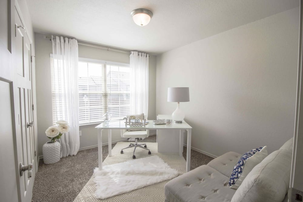 A spacious office in an apartment at Legacy Trail in Norman, Oklahoma