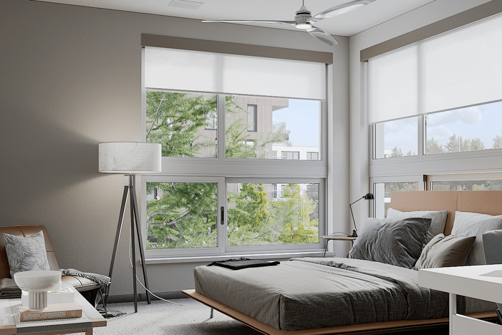Master bedroom rendering at Solana Stapleton Apartments in Denver, Colorado
