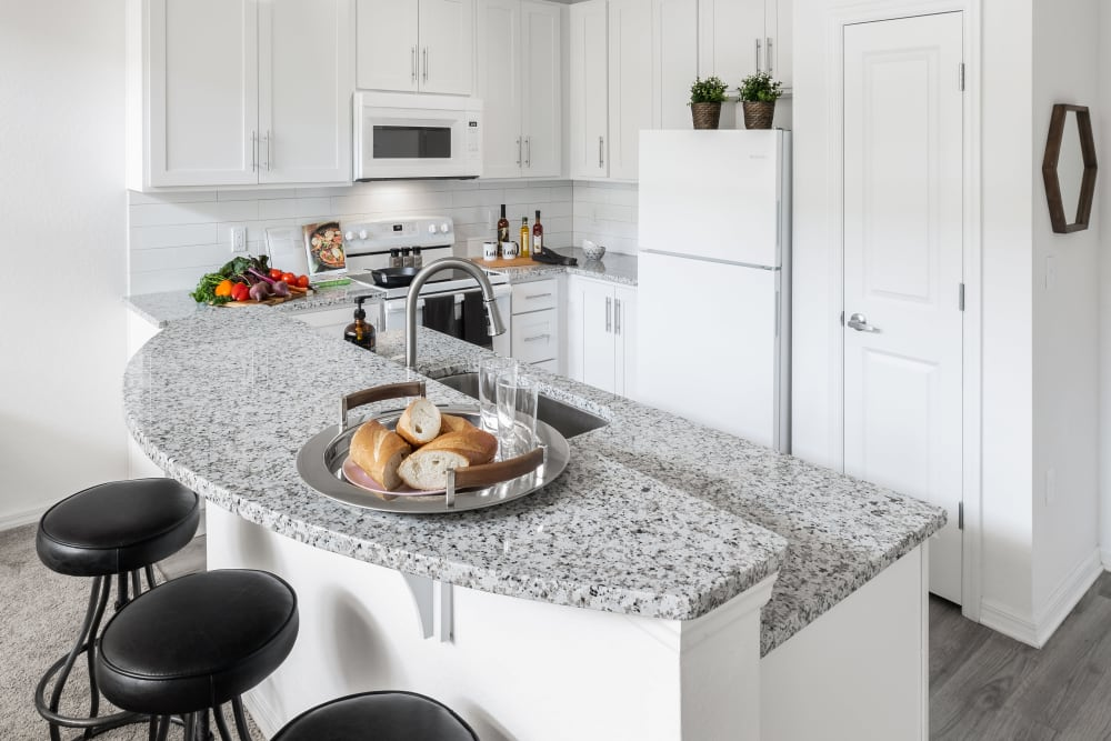 Lola Apartments offers a Beautiful Kitchen with breakfast counter seating in Riverview, Florida