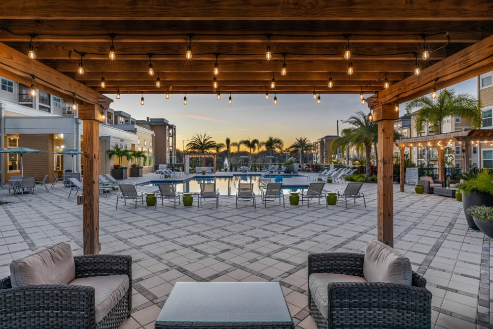 Community space and Swimming Pool at Lola Apartments in Riverview, Florida