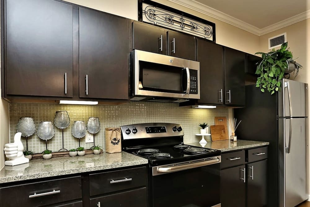 Beautiful modern kitchen with stainless-steel appliances at Trails at Lake Houston in Houston, Texas