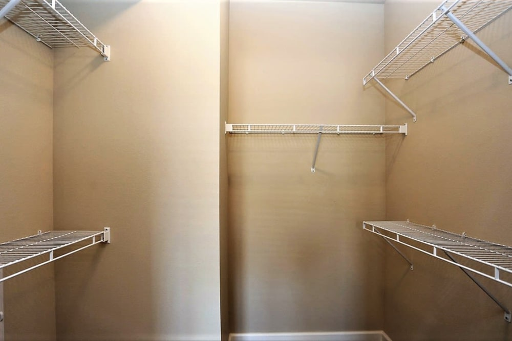 Spacious walk-in closet with shelving at Trails at Lake Houston in Houston, Texas