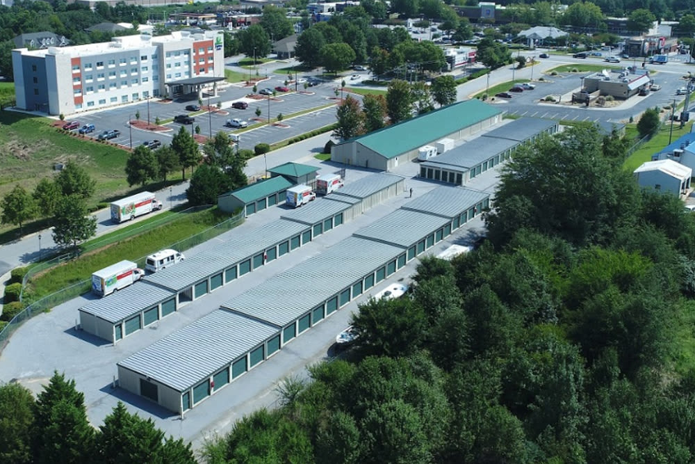 Aerial view of our storage units at StayLock Storage in Simpsonville, South Carolina