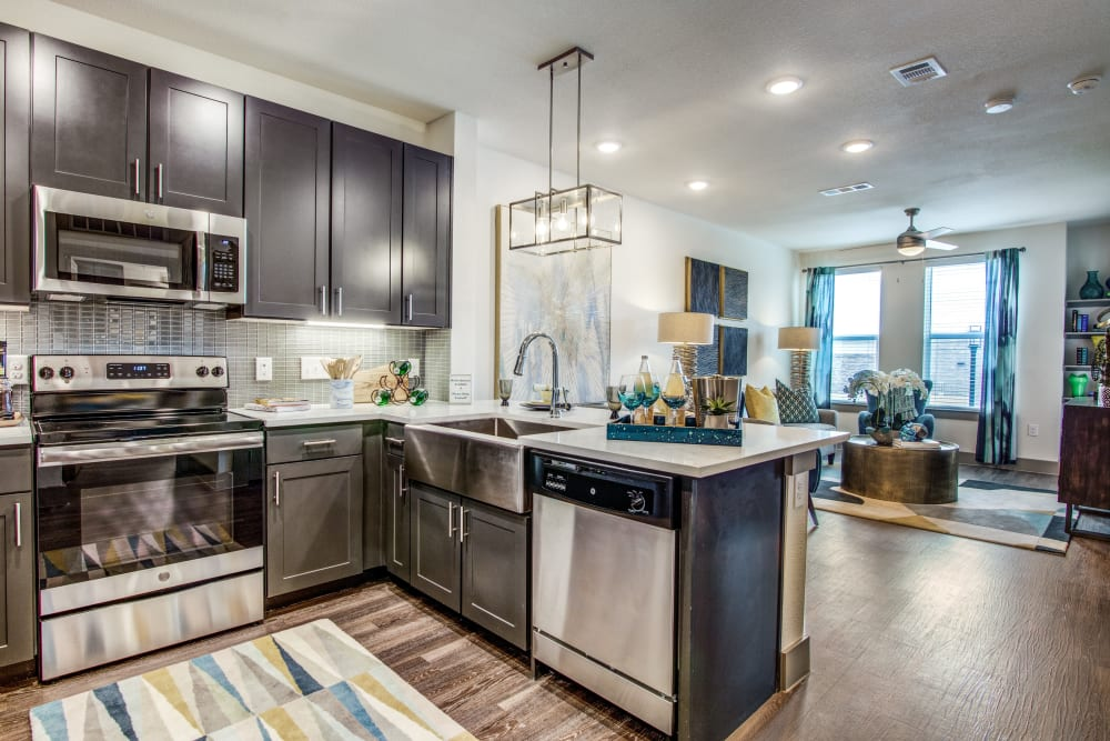 Kitchen with stainless-steel appliances at Enclave at Woodland Lakes in Conroe, Texas