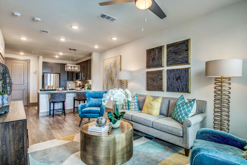 Spacious living room at Enclave at Woodland Lakes in Conroe, Texas