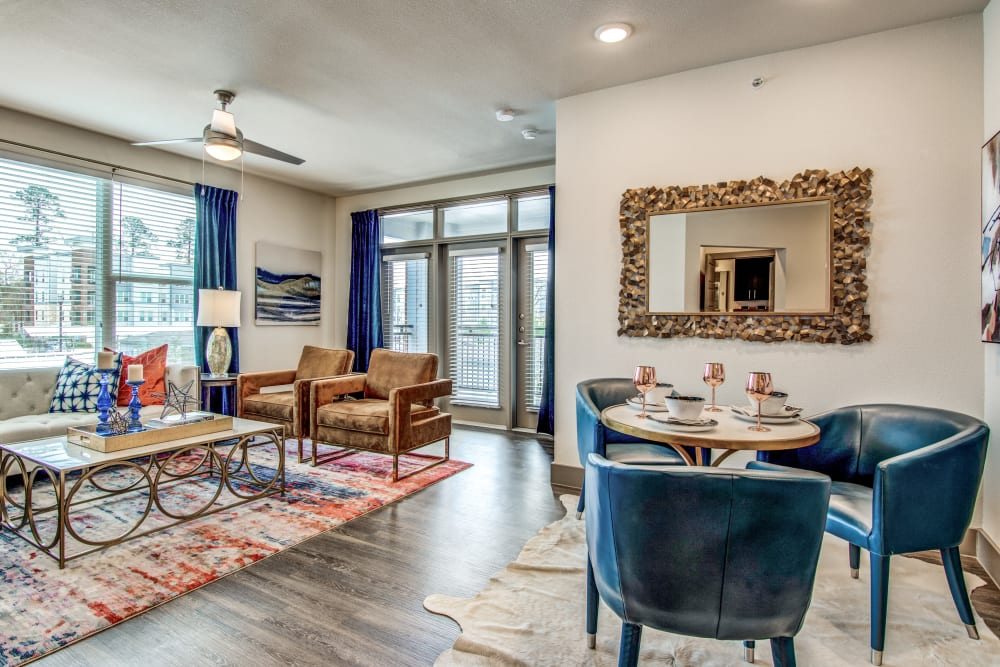 Dining room table at Enclave at Woodland Lakes in Conroe, Texas