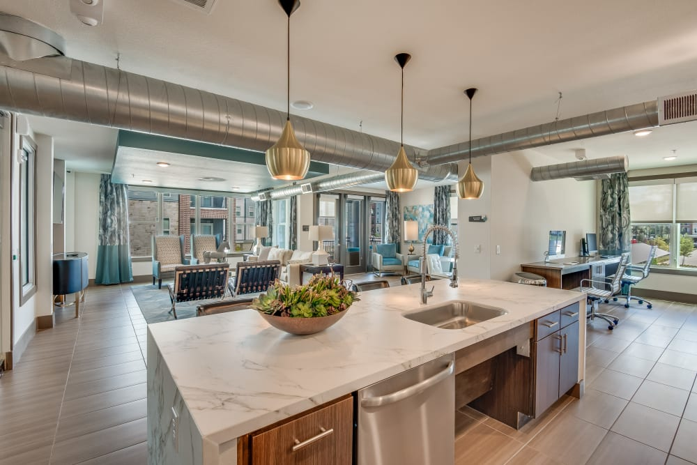 Community kitchen at Enclave at Woodland Lakes in Conroe, Texas