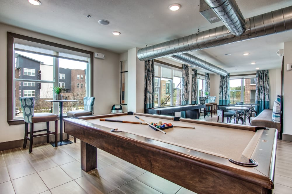 Billiards table at Enclave at Woodland Lakes in Conroe, Texas