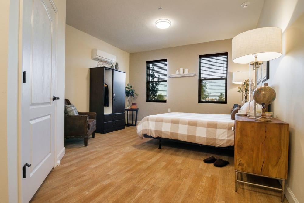 Spacious resident bedroom at CERTUS Premier Memory Care Living in Orlando, Florida.