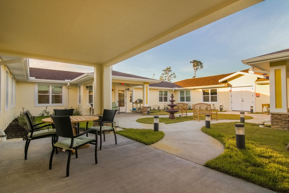 Covered porch at CERTUS Premier Memory Care Living in Orange City, Florida.