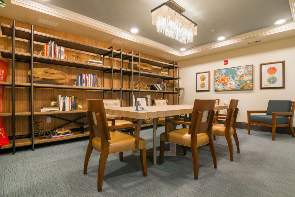 Resident library at CERTUS Premier Memory Care Living in Orlando, Florida.