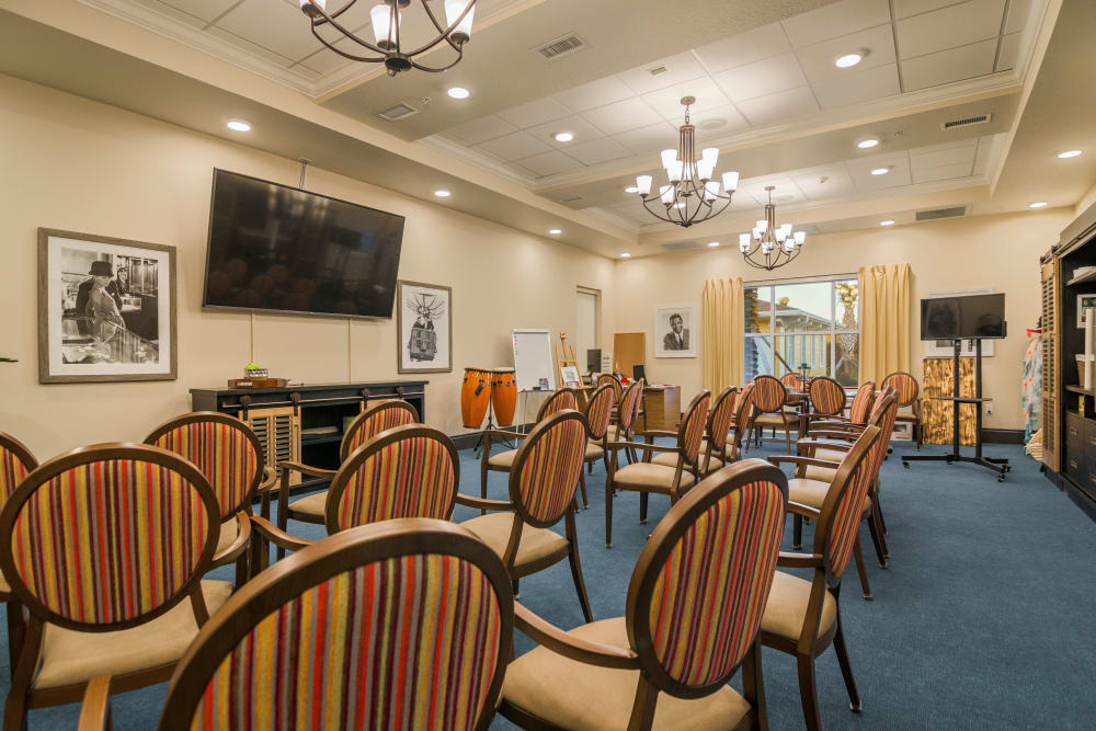 Spacious resident theater at CERTUS Premier Memory Care Living in Orange City, Florida.