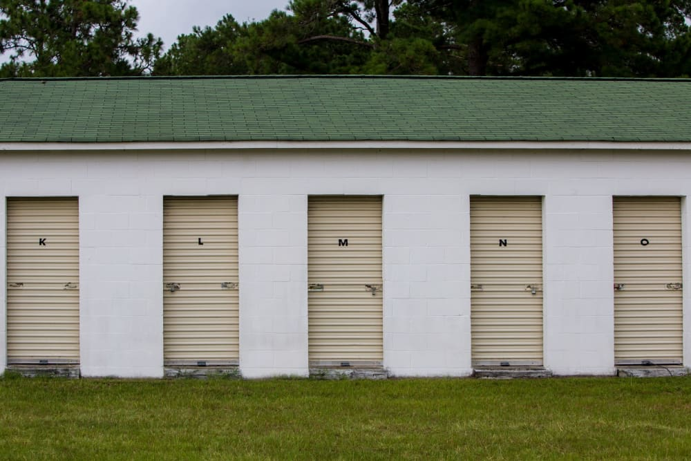 Roll-up doors on self storage units at StayLock Storage in Cassatt, South Carolina