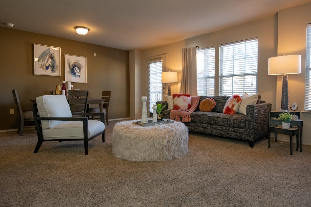Spacious living room and dining room at Villas at Canyon Ranch in Yukon, Oklahoma