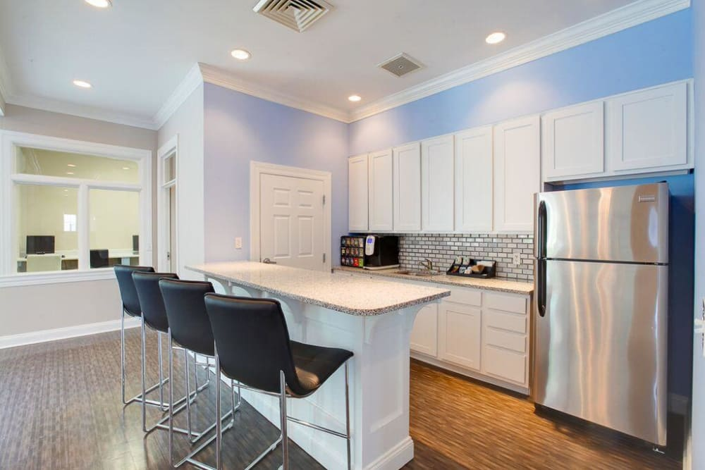 An open, community kitchen in the clubhouse at The Blvd at White Springs in Nottingham, Maryland